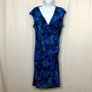 Chaps knit cap sleeve faux wrap dress L